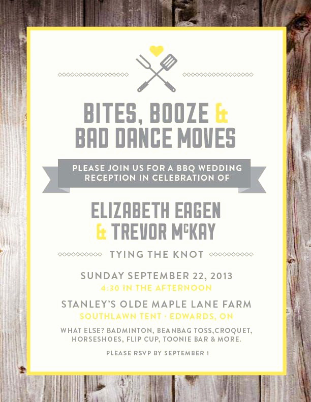 "Funny Engagement Party Invitation Wording New Bbq Wedding Reception Invite ""bbq Booze and Bad Dance"