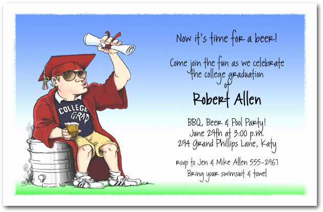 Funny Graduation Invitation Sayings Elegant College Grad Keg Party Invitation Fun Graduation Party