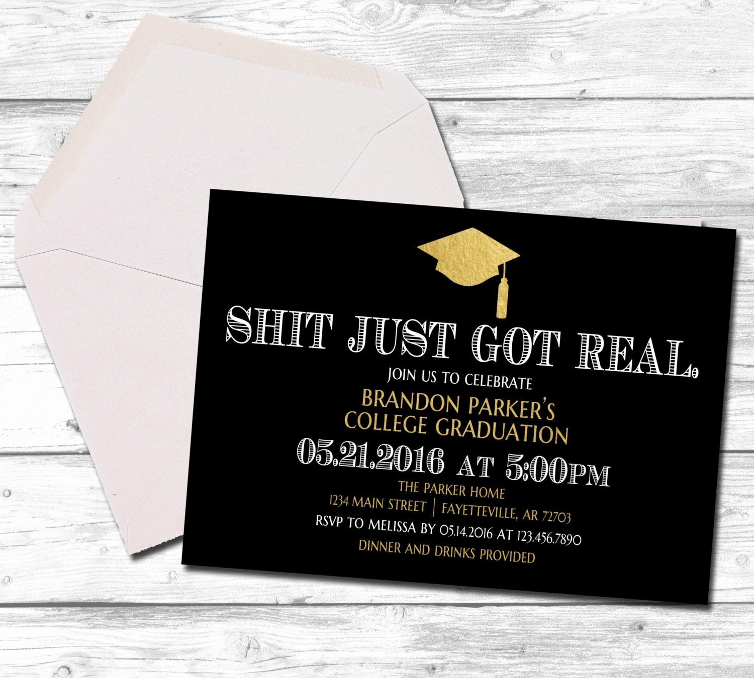 Funny Graduation Invitation Sayings Elegant Graduation Graduation Invitation Shit Just Got Real Black
