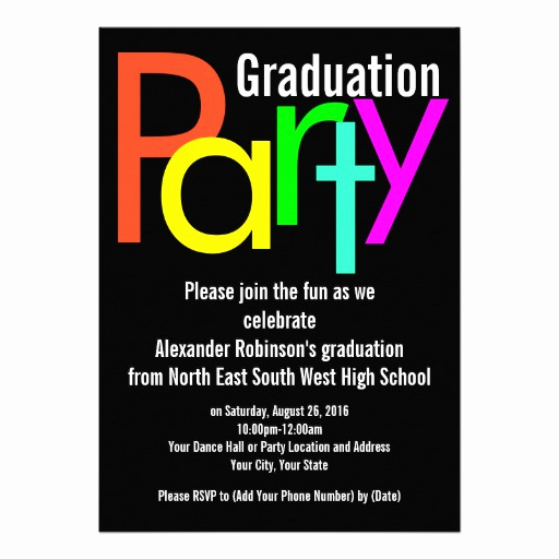 "Funny Graduation Party Invitation Wording Fresh Fun Brights Graduation Party Invitation 5"" X 7"" Invitation"