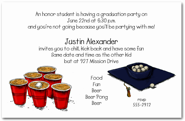 Funny Graduation Party Invitation Wording Inspirational Graduation Party Invitation Beer Pong and Grad Hat Invitation