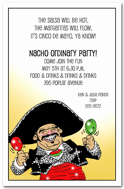 Funny Graduation Party Invitation Wording Lovely Mariachi Guy Cinco De Mayo Party Invitations Mexican