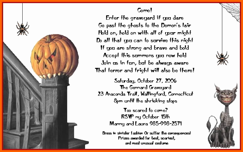 Funny Halloween Invitation Wording Elegant Funny Halloween Invitation Wording – Festival Collections