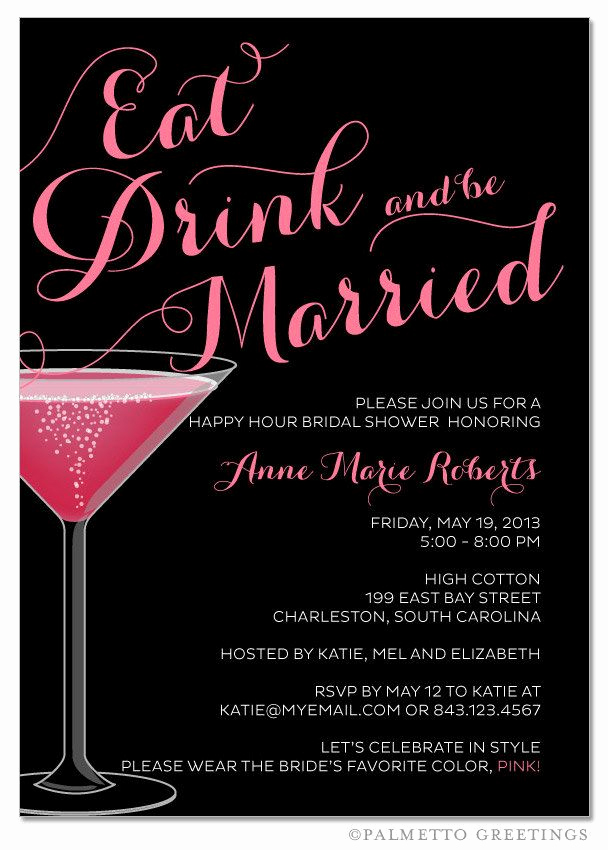 Funny Happy Hour Invitation Wording Unique Eat Drink and Be Married Happy Hour Champagne Bridal