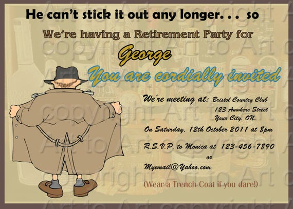 Funny Party Invitation Wording Inspirational Retirement Party Invitation for Man 180 Personalized Digital
