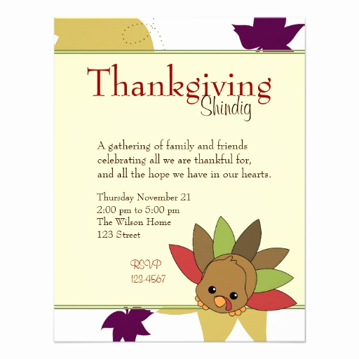 Funny Thanksgiving Invitation Wording Fresh Cutie Turkey Announcement