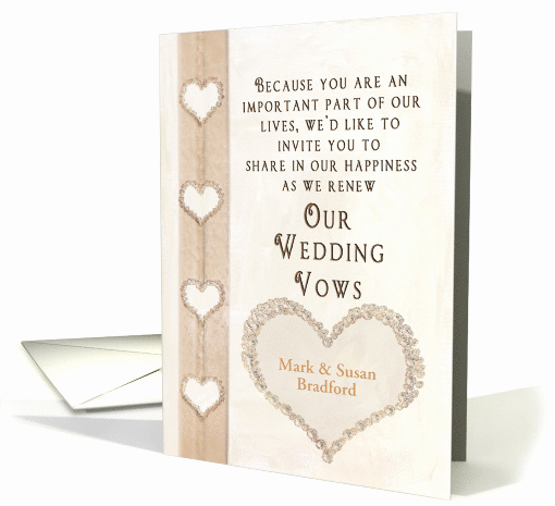 Funny Vow Renewal Invitation Wording Fresh Wedding Vow Renewal Invitation Jewel Faux Hearts Card