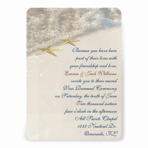 Funny Vow Renewal Invitation Wording Lovely Seashore Wedding Vow Renewal Personalized Invitations