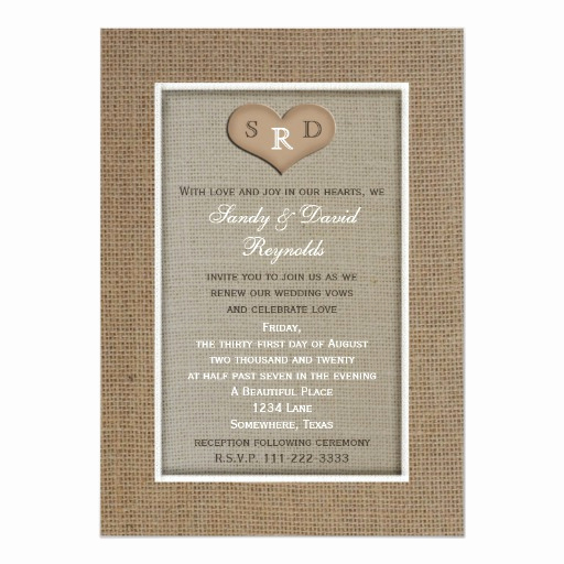 "Funny Vow Renewal Invitation Wording Lovely Wedding Vow Renewal Invitation Rustic Burlap 5"" X 7"