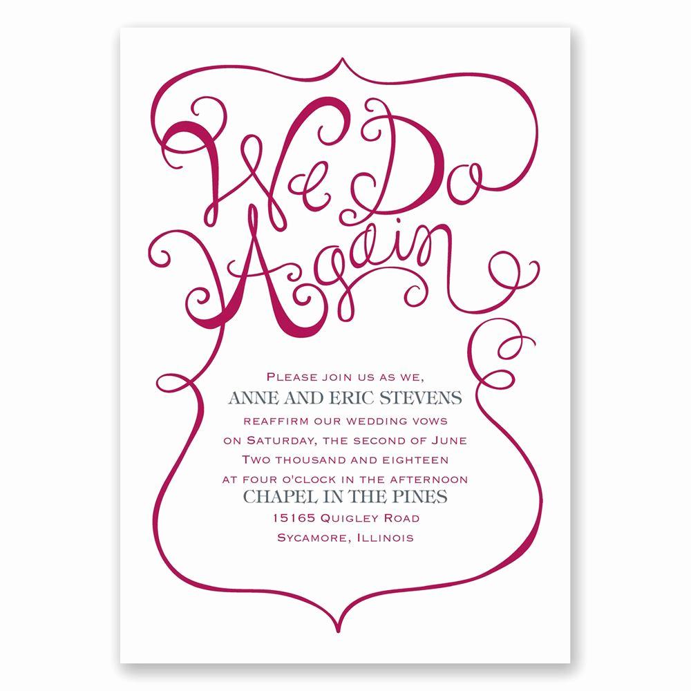 Funny Vow Renewal Invitation Wording Luxury We Do Again Vow Renewal Invitation