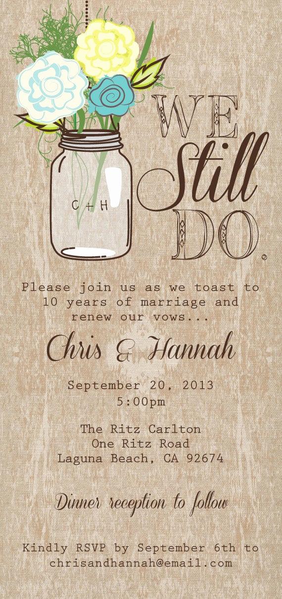 Funny Vow Renewal Invitation Wording New Mason Jar Printable Invitation Rustic Wedding Invitation We