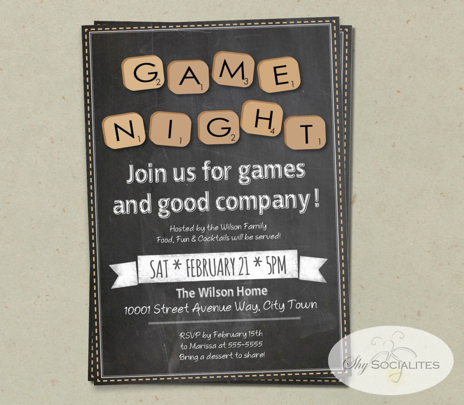 Game Night Invitation Template Awesome Chalkboard Game Night Invitation Instant Download Word
