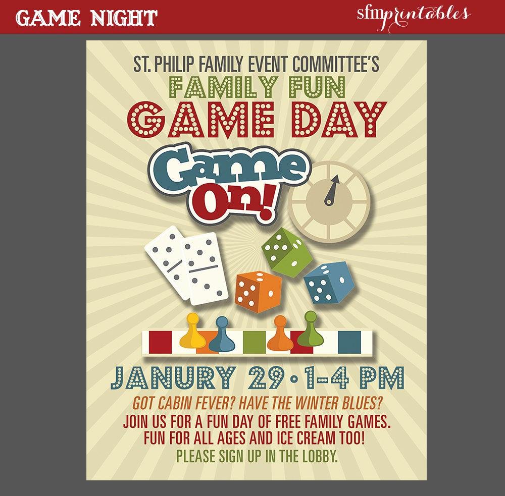 Game Night Invitation Template Beautiful Game Night Poster Fun Dice Template Church School Munity
