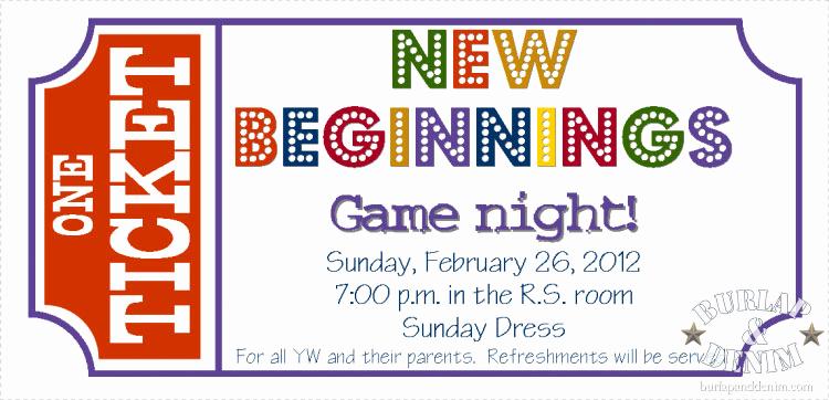 Game Night Invitation Template Elegant New Beginnings Game Nightburlap & Denim