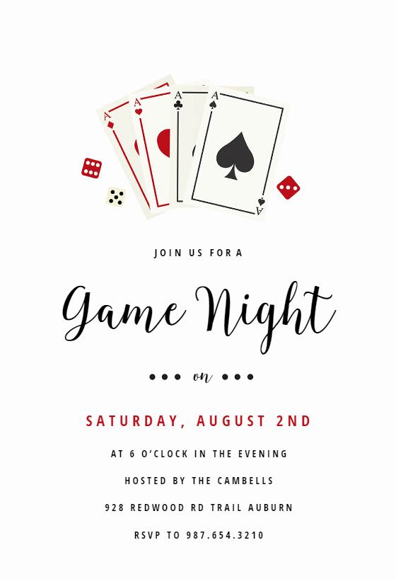 Game Night Invitation Template Fresh Poker Game Night Sports & Games Invitation Template
