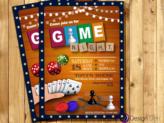Game Night Invitation Template Lovely Game Night Invitation Game Party Invite Old School Games