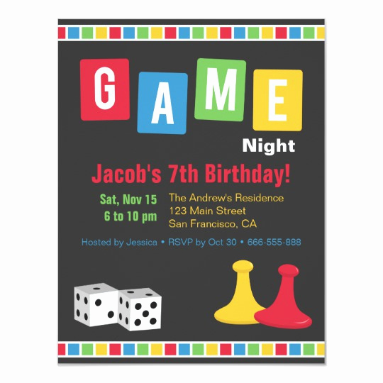 Game Night Invitation Template Luxury Board Game Night Kids Birthday Party Invitations
