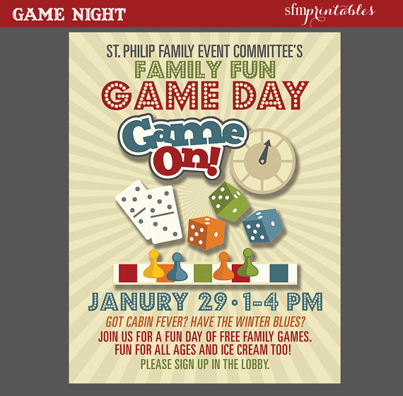 Game Night Invitation Template New Game Night Poster Fun Dice Template Church School