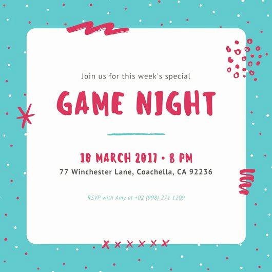 Game Night Invitation Template New Party Invitation Templates Canva