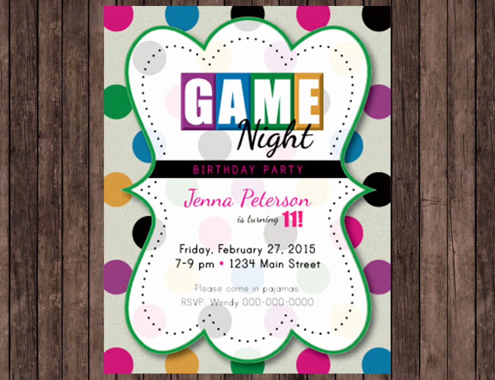 Game Night Invitation Wording Awesome Game Night Birthday Party Invitation
