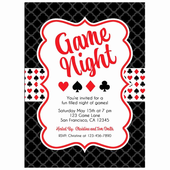 Game Night Invitation Wording Beautiful Game Night Invitation Printable or Printed with Free