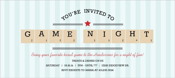 Game Night Invitation Wording Elegant Blue Stripe Scrabble Pieces Game Night Invitation
