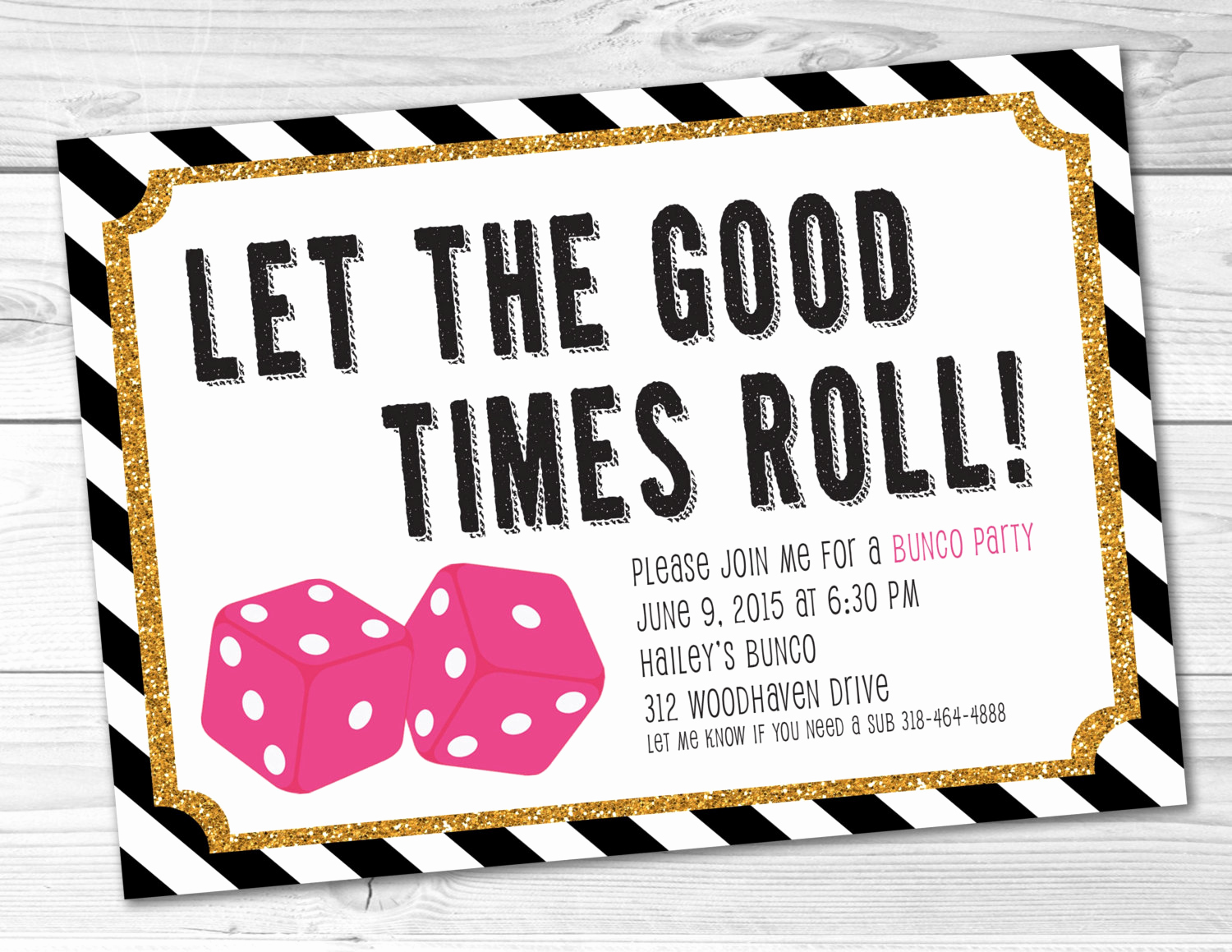 Game Night Invitation Wording Elegant Bunco Game Night Party Invitation
