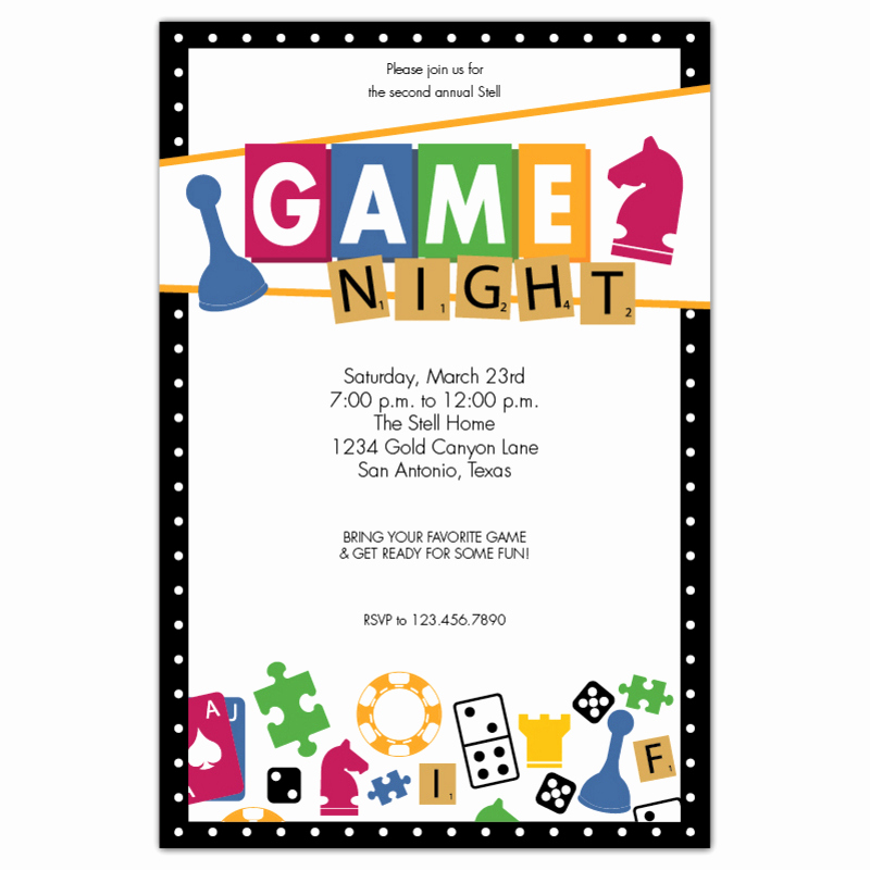 Game Night Invitation Wording Lovely Game Night