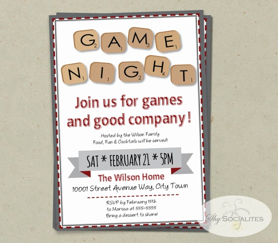 Game Night Invitation Wording Lovely Word Scramble Game Night Invitation Instant Download