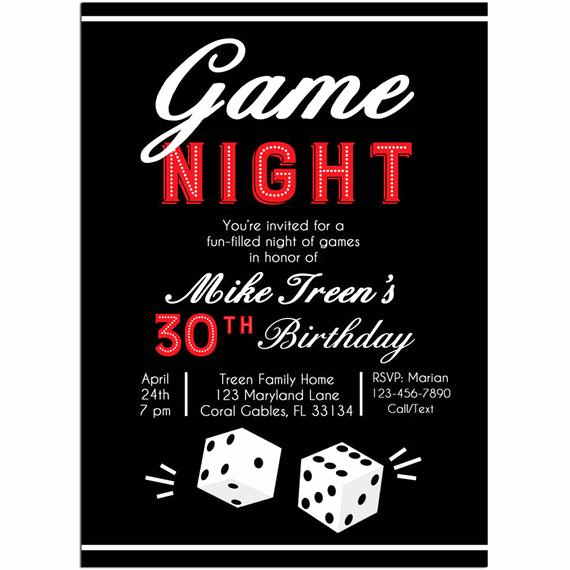 Game Night Invitation Wording Luxury Game Night Invitation Printable or Printed with Free