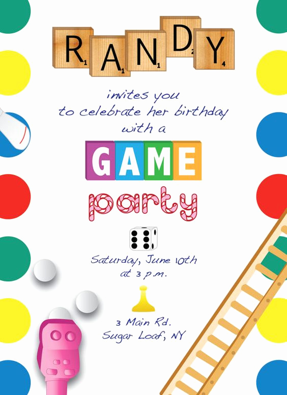 Game Night Invitation Wording New Printable Game Night Party Invitation