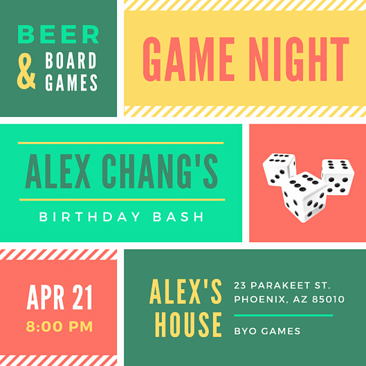 Game Night Invitation Wording Unique Game Night Grid Birthday Invitation Templates by Canva