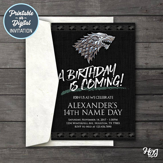 Game Of Thrones Invitation Awesome Game Of Thrones Digital Birthday Party Invitation Game Of
