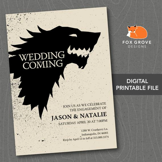 Game Of Thrones Invitation Beautiful Printable Game Of Thrones Wedding is Ing by Foxgrovedesigns
