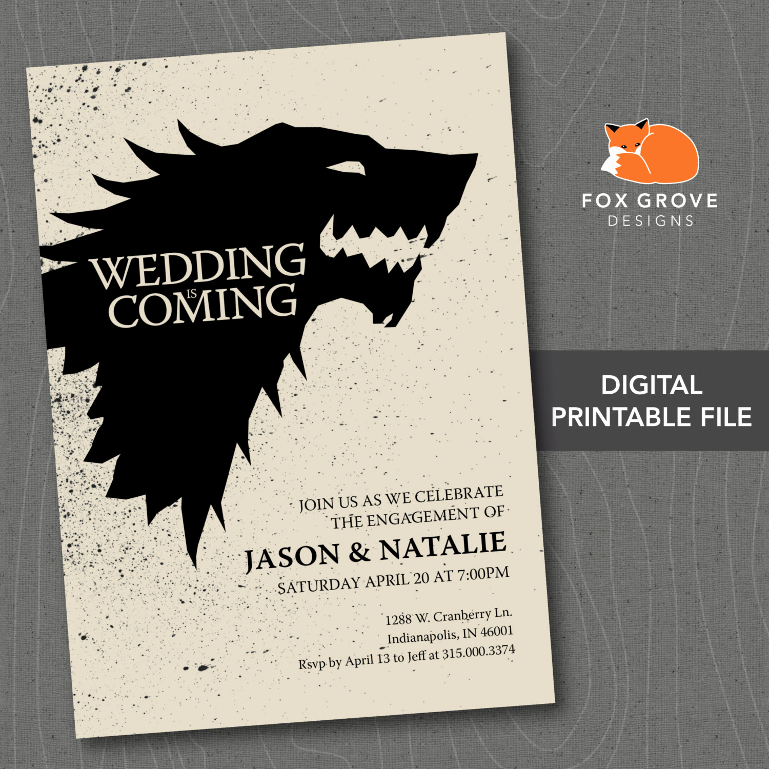 Game Of Thrones Invitation Best Of Wedding is Ing Game Of Thrones Printable by Foxgrovedesigns