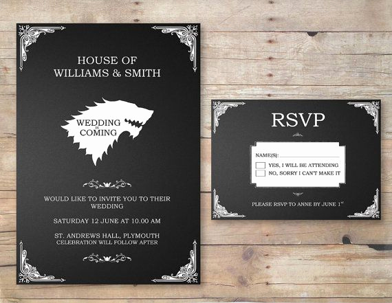 Game Of Thrones Invitation Elegant Game Of Thrones Wedding Invitation & Rsvp by Flurgdesigns