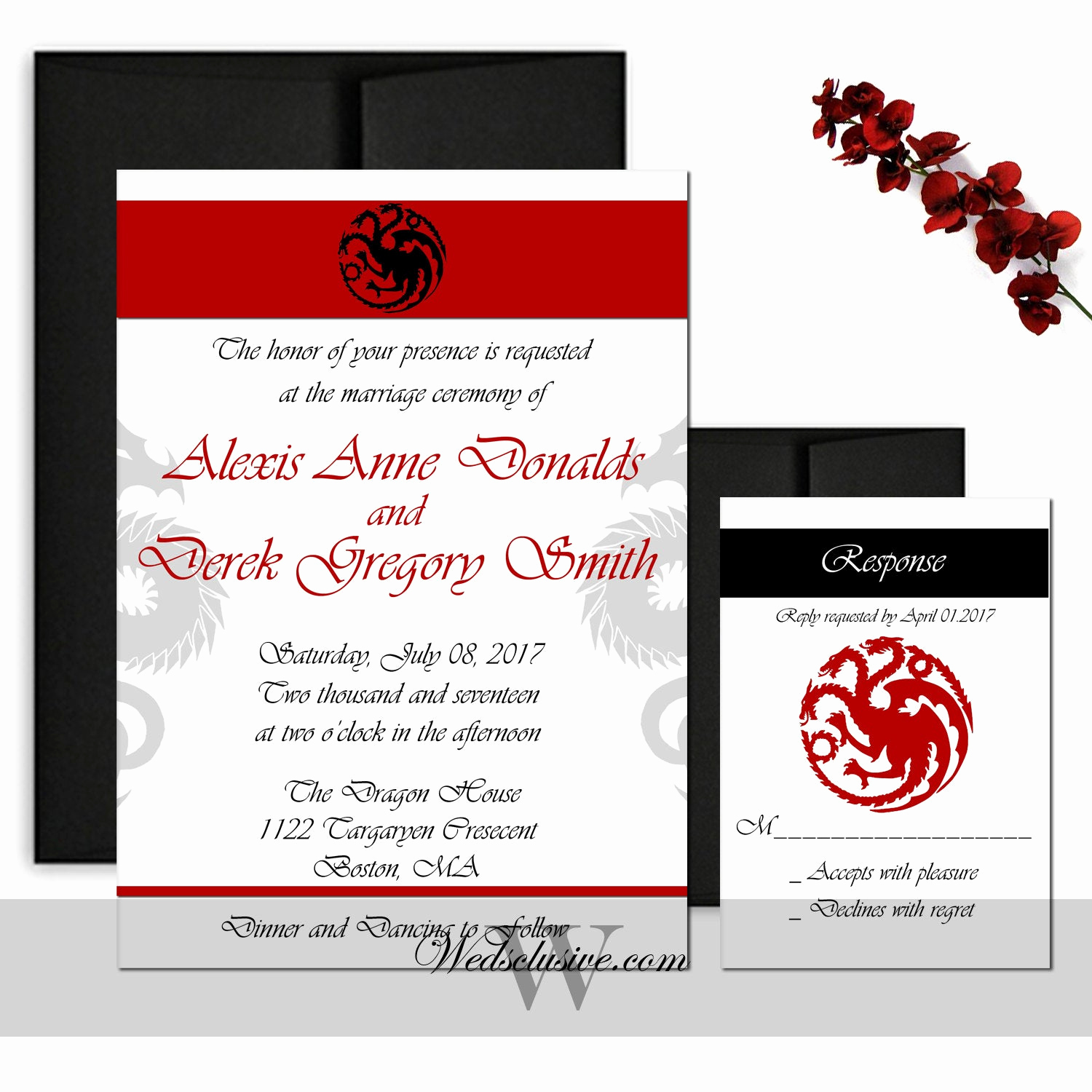 Game Of Thrones Invitation Elegant Game Of Thrones Wedding Invitations House Of Targaryen