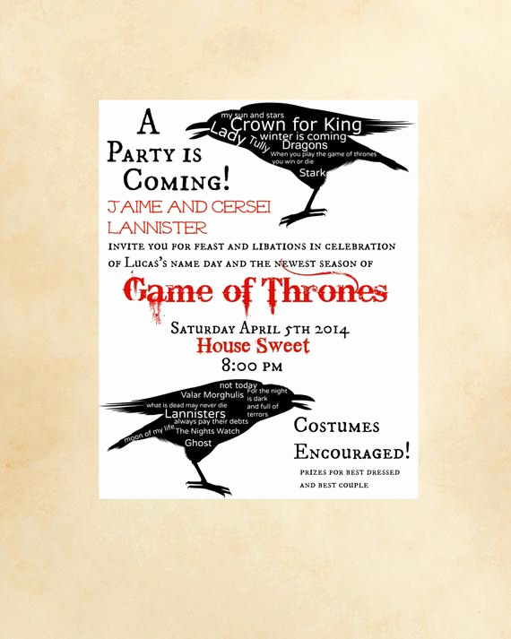 Game Of Thrones Invitation Inspirational Game Thrones Party Invitation