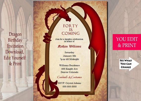 Game Of Thrones Invitation Luxury Game Of Thrones Inspired Dragon Invitation Dragon Invitation