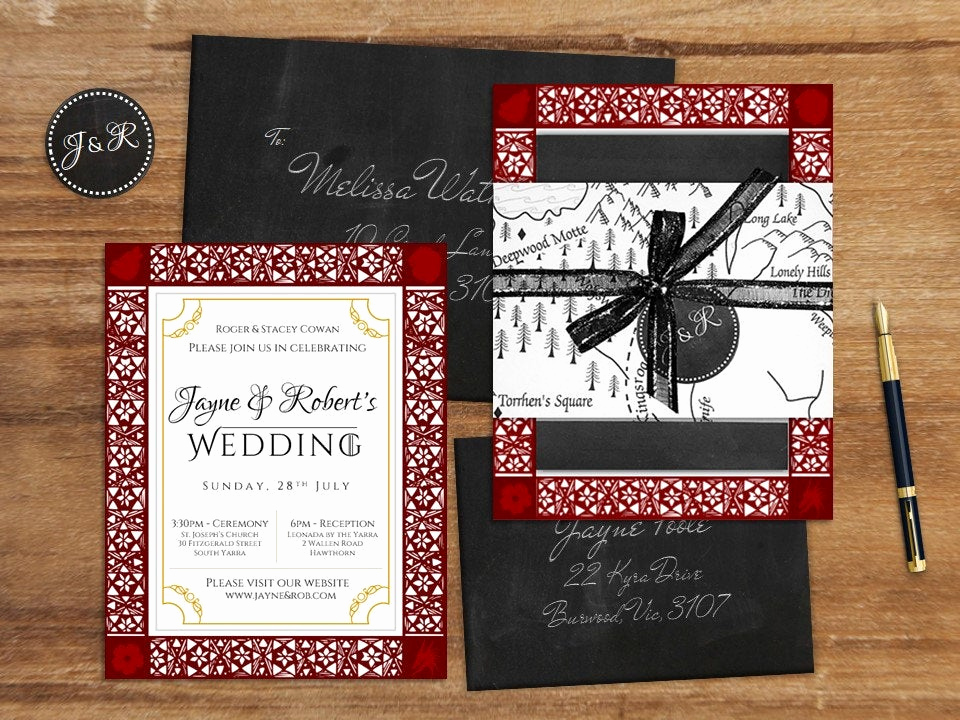 Game Of Thrones Invitation Luxury Game Of Thrones Wedding Invitation Suite by Chameleonweddings