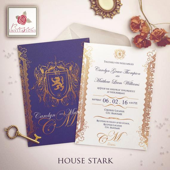 Game Of Thrones Invitation Luxury House Stark Wedding Invitation Game Of Thrones Inspiration
