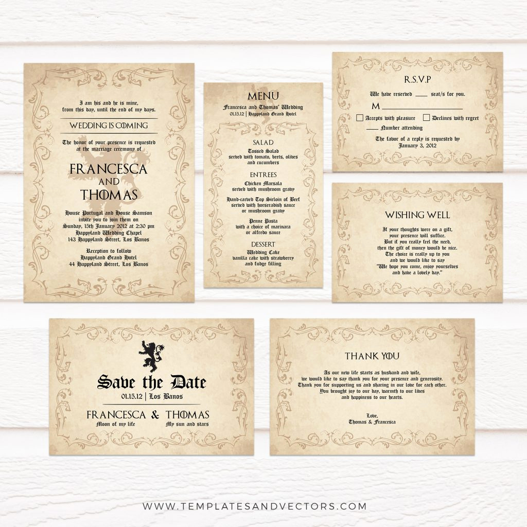 Game Of Thrones Invitation Luxury Tvw185 Game Of Thrones Lion Wedding Invitation Diy