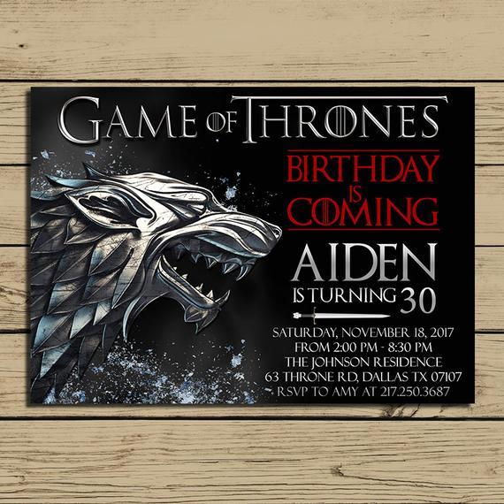 Game Of Thrones Invitation Unique Game Of Thrones Invitation Game Of Thrones Birthday Party