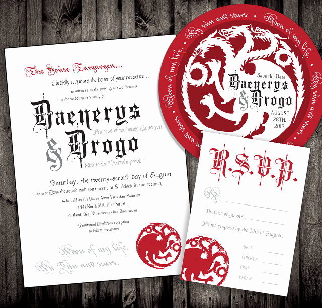 Game Of Thrones Invitation Unique Not Surprised Game Thrones Wedding Invitations