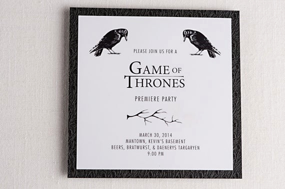 Game Of Thrones Party Invitation Beautiful Game Of Thrones Inspired Premiere Party Invitations Tv Show