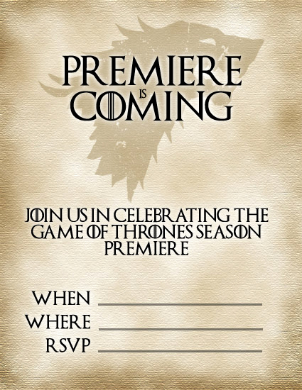 Game Of Thrones Party Invitation Best Of Jellyfish soup Diy Game Of Thrones Premiere Party