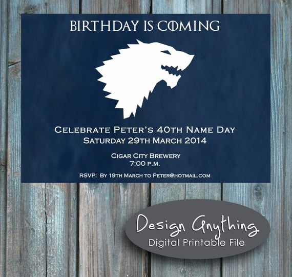 Game Of Thrones Party Invitation Fresh Items Similar to Printable Game Of Thrones Birthday Party