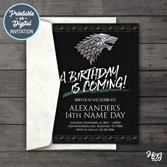 Game Of Thrones Party Invitation Inspirational Game Of Thrones Digital Birthday Party Invitation Game Of