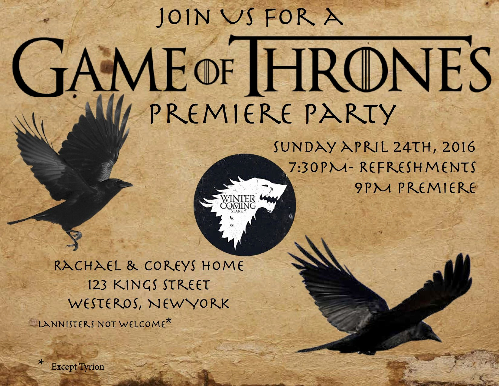 Game Of Thrones Party Invitation Inspirational Game Of Thrones Premiere Party Invitation Inspiration I