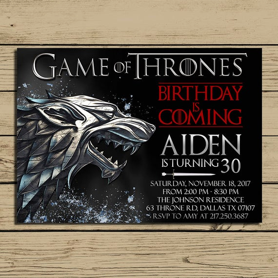 Game Of Thrones Party Invitation Luxury Game Of Thrones Invitation Game Of Thrones Birthday Party